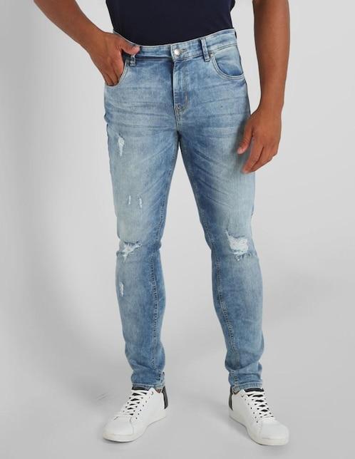 Jeans Contempo De Caballero Corte Skinny Cintura Media Con Destrucciones